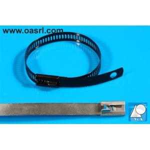 Colier metalic, pentru cabluri,   12.0 x  225 mm, de strangere, inoxidabil, negru