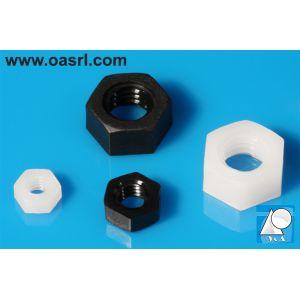 Piulita plastic, M2.5, DIN 555 / ISO 4034, hexagonala, Negru