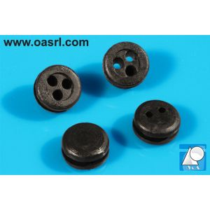 Inel, tip membrana, rotund, cu trei orificii, Diam gaura montaj 10.0mm, gr panou 2.0mm, h 6.0mm, PVC flexibil, negru
