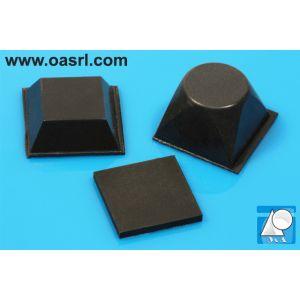 Picior patrat autoadeziv, tampon, negru, art. 01563