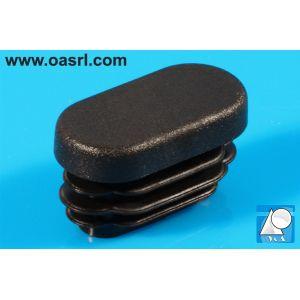 Dop, oval, pentru teava, cu lamele, L 45.0mm, l 20.0mm, din plastic, negru