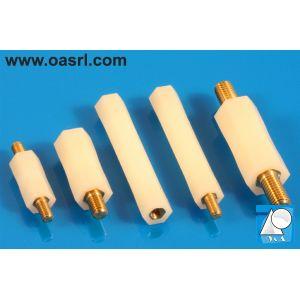 Distantier combinat alama nylon, hexagonal, M4, L_45.0mm, cu filet interior si exterior, UL-94 V-2