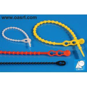 Colier plastic cu bile CPB 6.6 x 665mm Rosu, reutilizabil