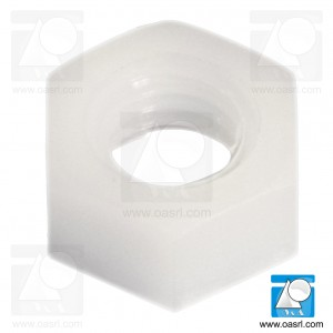 Piulita plastic, M2.5, DIN 555 / ISO 4034, hexagonala, Natur