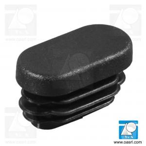 Dop, oval, pentru teava, cu lamele, L 50.0mm, l 25.0mm, din plastic, negru