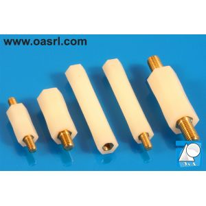 Distantier combinat alama nylon, hexagonal, M4, L_25.0mm, cu filet interior si exterior, UL-94 V-2
